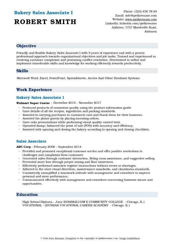 Bakery Sales Associate I Resume Example