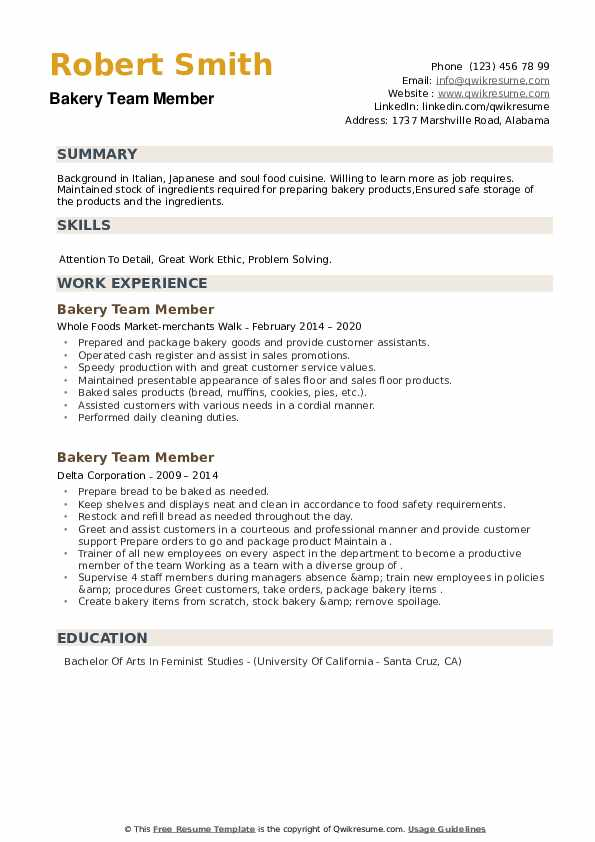 Bakery Team Member Resume example