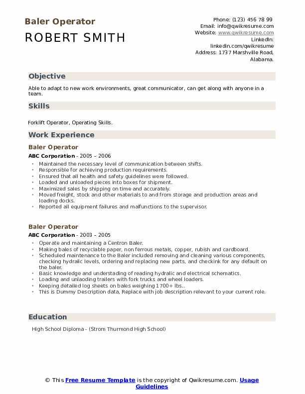 Baler Operator Resume example