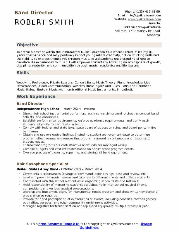 Band Director Resume Samples Qwikresume