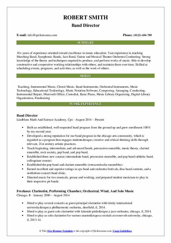 band director resume samples