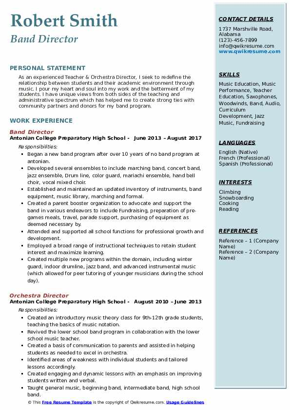 Band Director Resume Template
