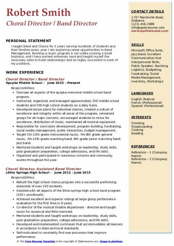 Choral Director / Band Director Resume Example