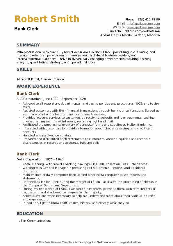 Bank Clerk Resume example