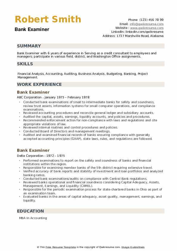 Bank Examiner Resume example