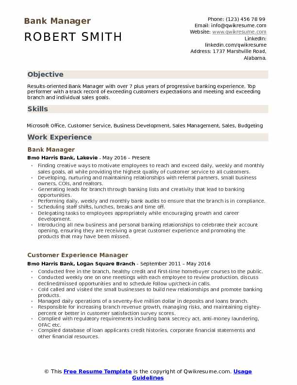 Bank Manager Resume Model