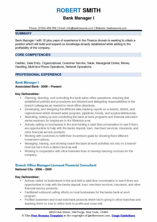 Bank Manager I Resume Example