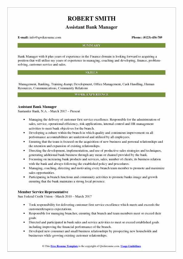 Assistant Bank Manager Resume Model