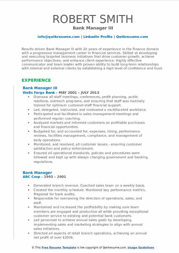 Bank Manager III Resume Format