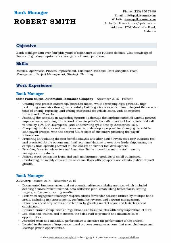 Bank Manager Resume Format