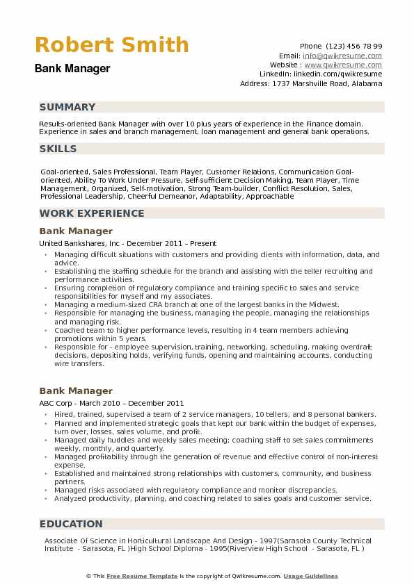 Bank Manager Resume Samples Qwikresume