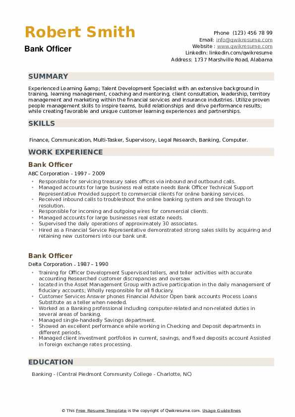 Bank Officer Resume example