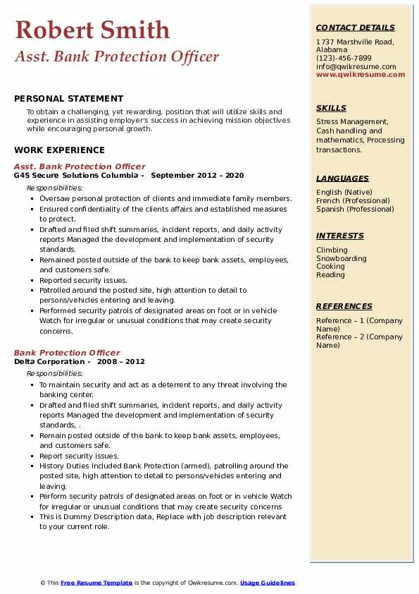 bank protection officer resume samples  qwikresume
