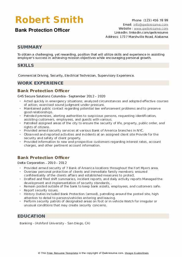 Bank Protection Officer Resume example