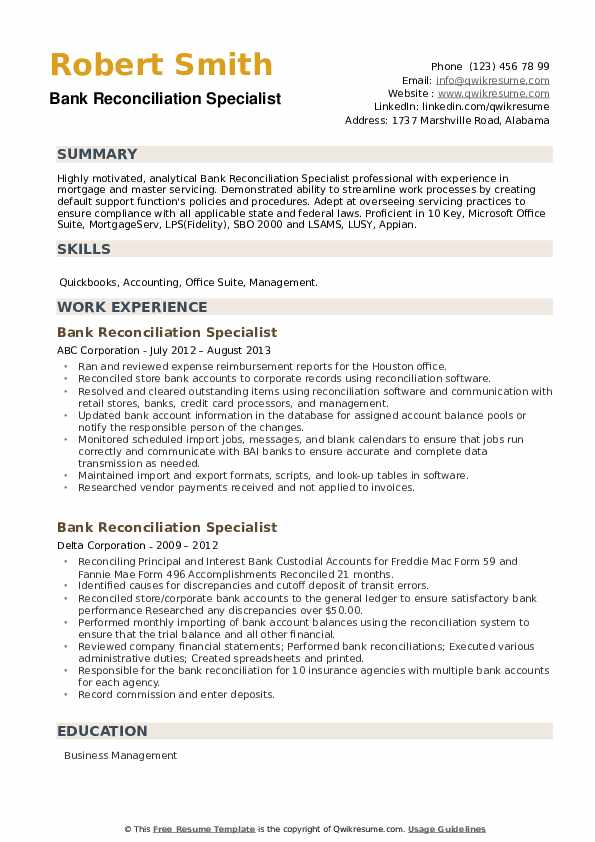 Bank Reconciliation Specialist Resume example