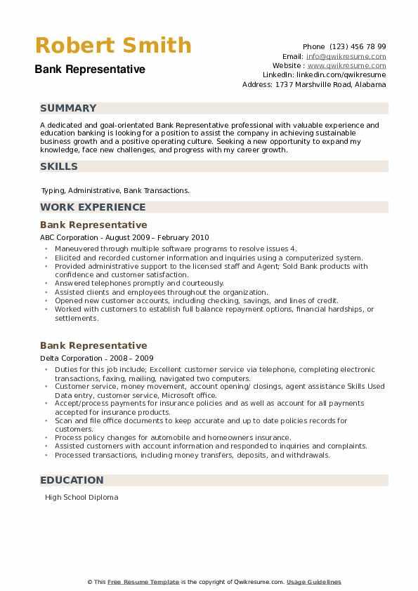 Bank Representative Resume example