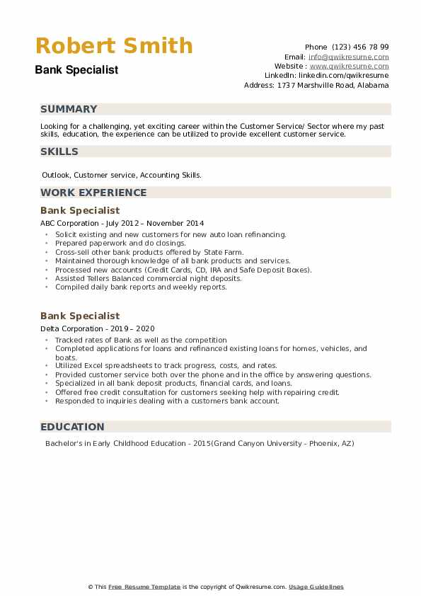 Bank Specialist Resume example
