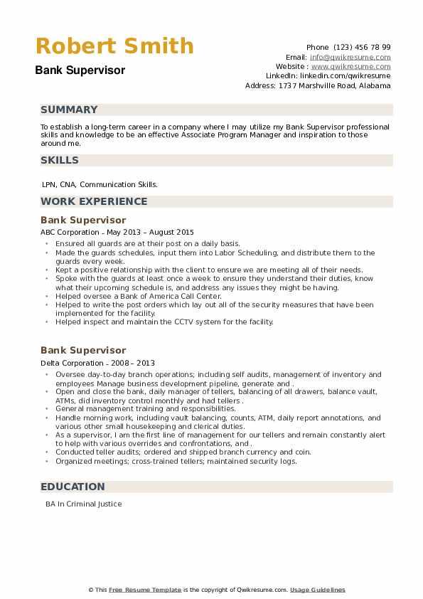 Bank Supervisor Resume example