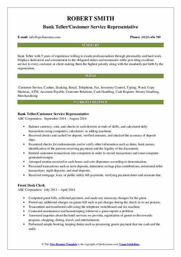 Bank Teller/Customer Service Representative Resume Example