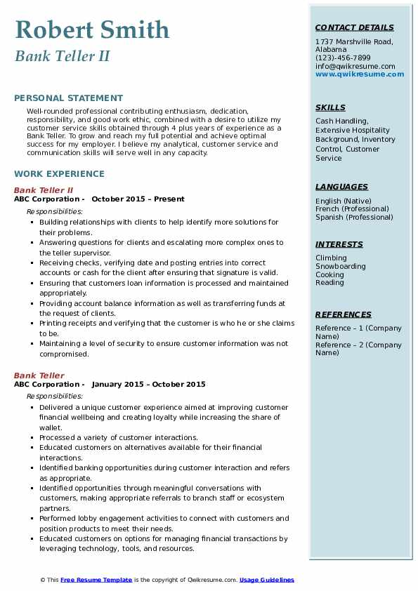 Bank Teller II Resume Model