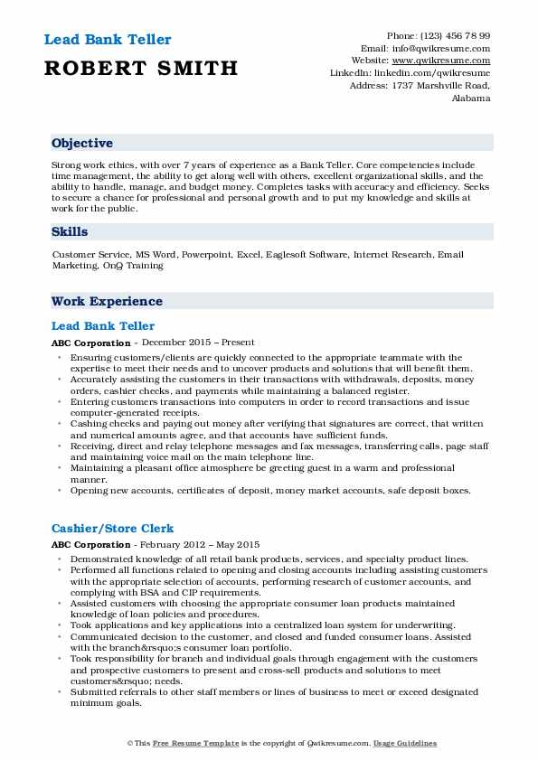 Lead Bank Teller Resume Sample