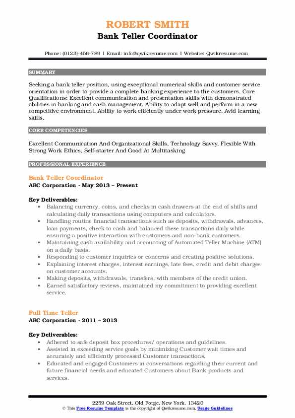 Bank Teller Resume Samples Qwikresume