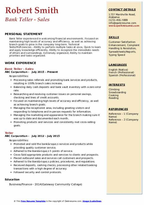 Bank Teller Resume example