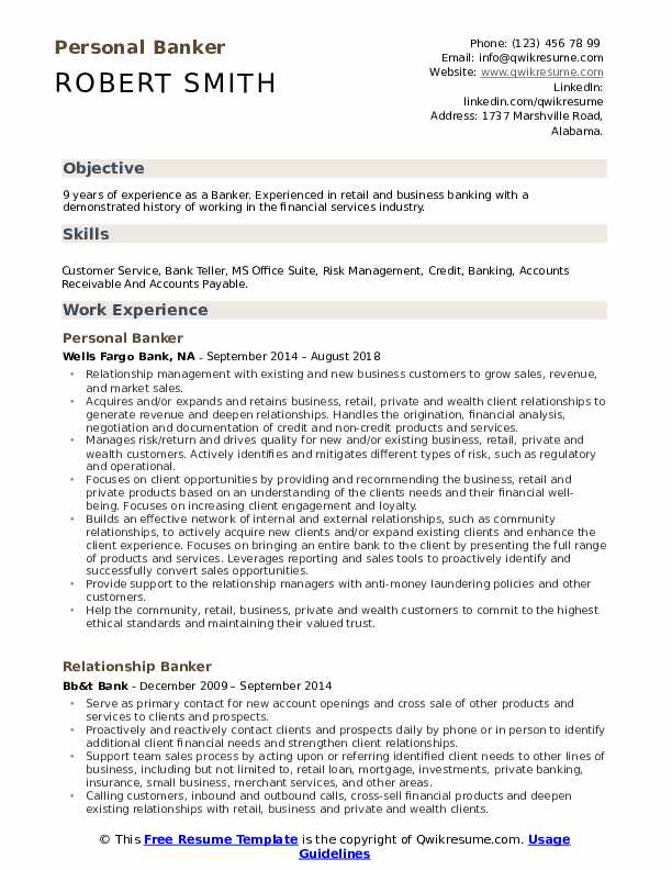 Personal Banker Resume Format