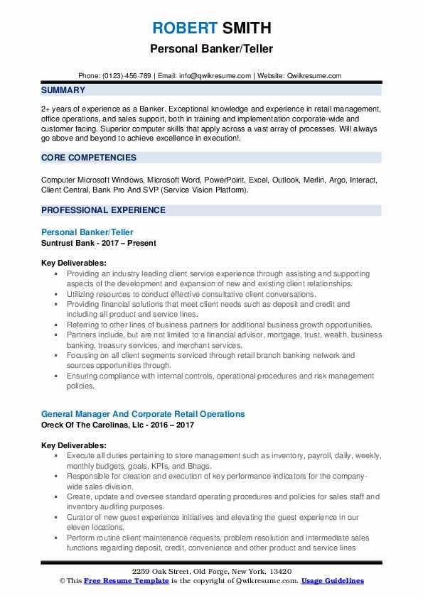 Personal Banker/Teller Resume Sample