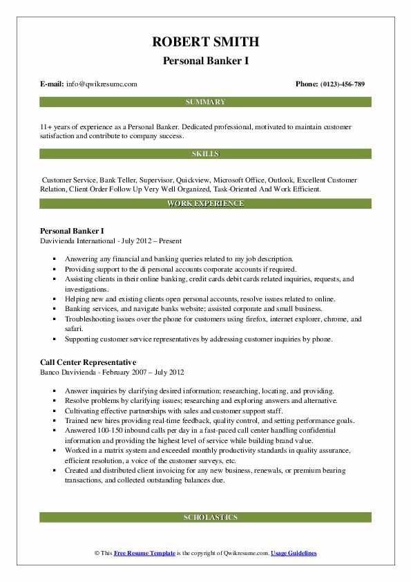 Personal Banker I Resume Sample
