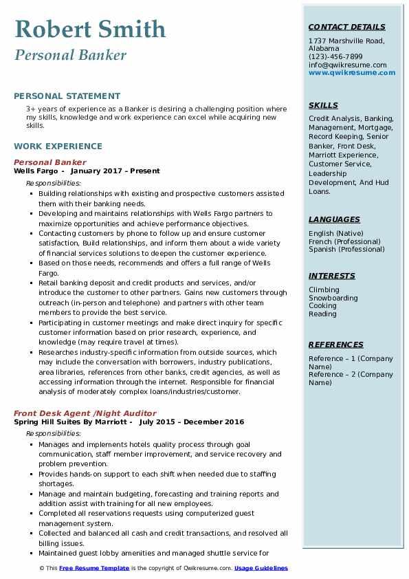 Personal Banker  Resume Model