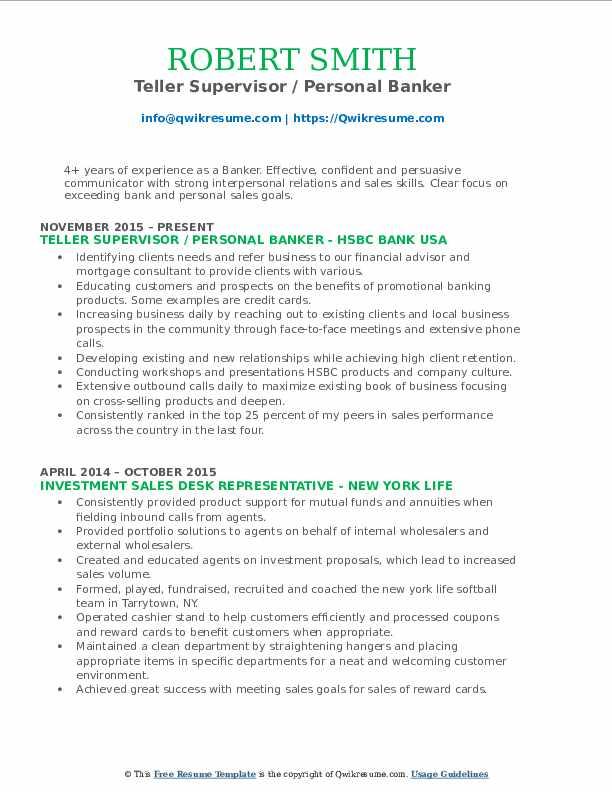Teller Supervisor / Personal Banker Resume Sample