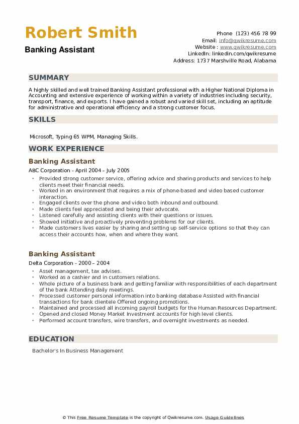 Banking Assistant Resume example