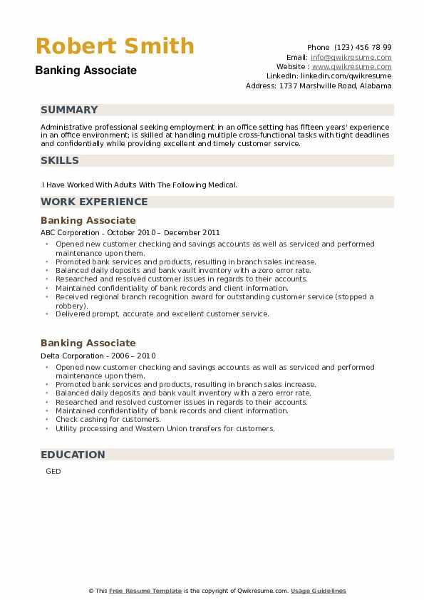Banking Associate Resume example