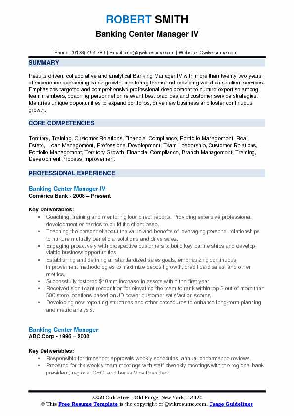 Banking Center Manager IV Resume Sample