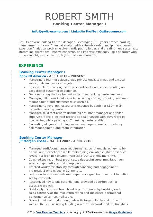 Banking Center Manager I Resume Template