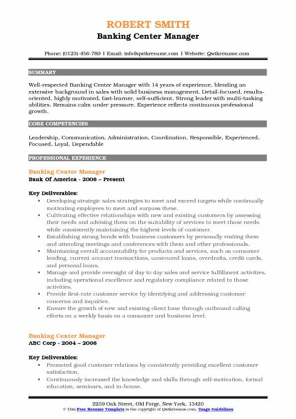 Banking Center Manager Resume Sample