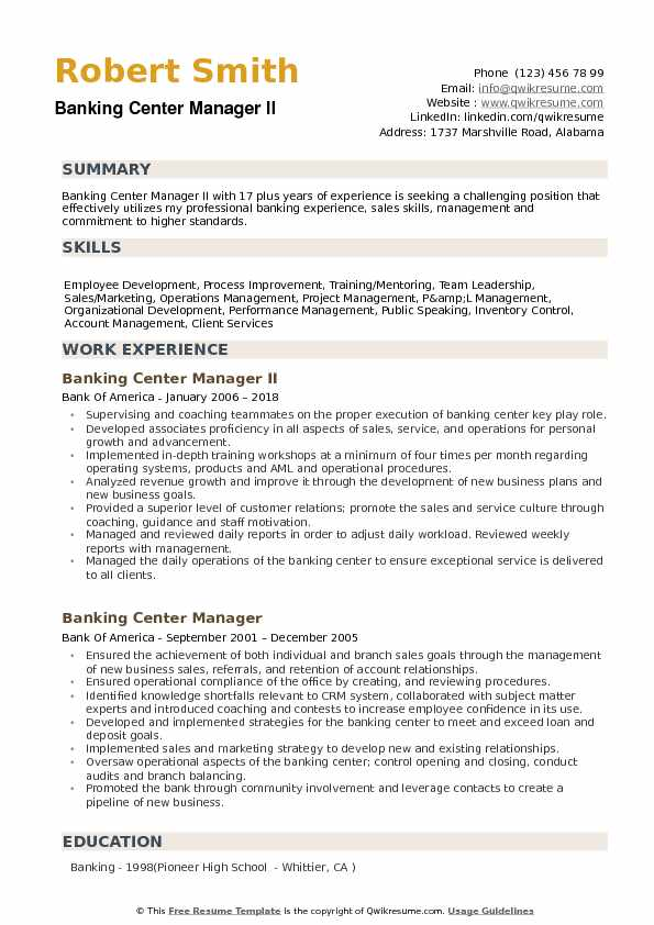 Banking Center Manager Resume example