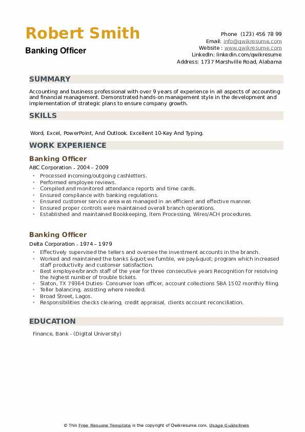 Banking Officer Resume example