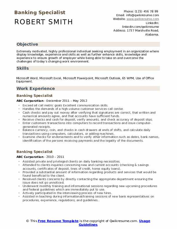 Banking Specialist Resume Model