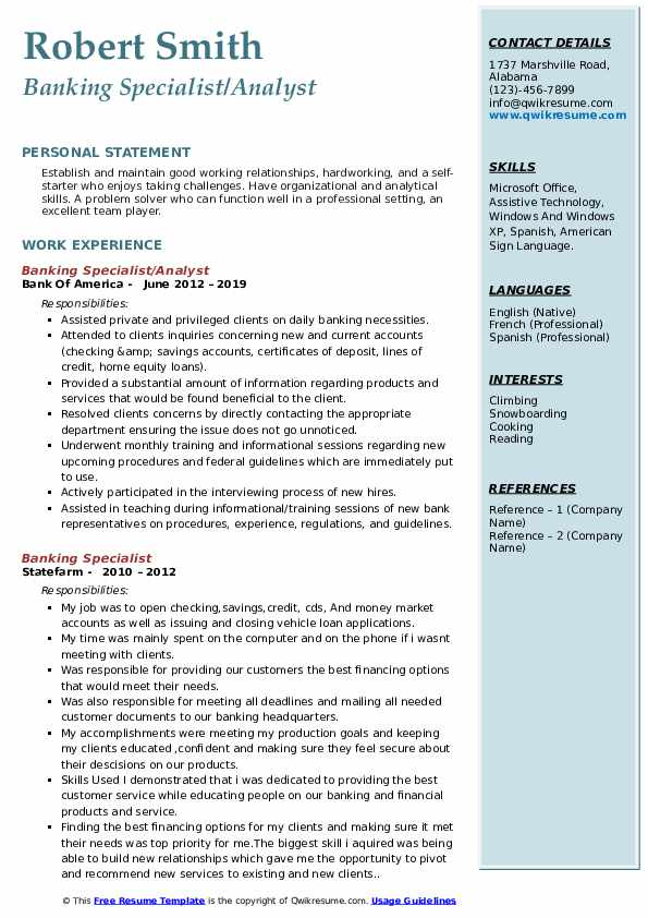 Banking Specialist/Analyst Resume Format