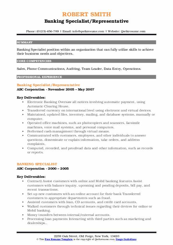 Banking Specialist/Representative Resume Template