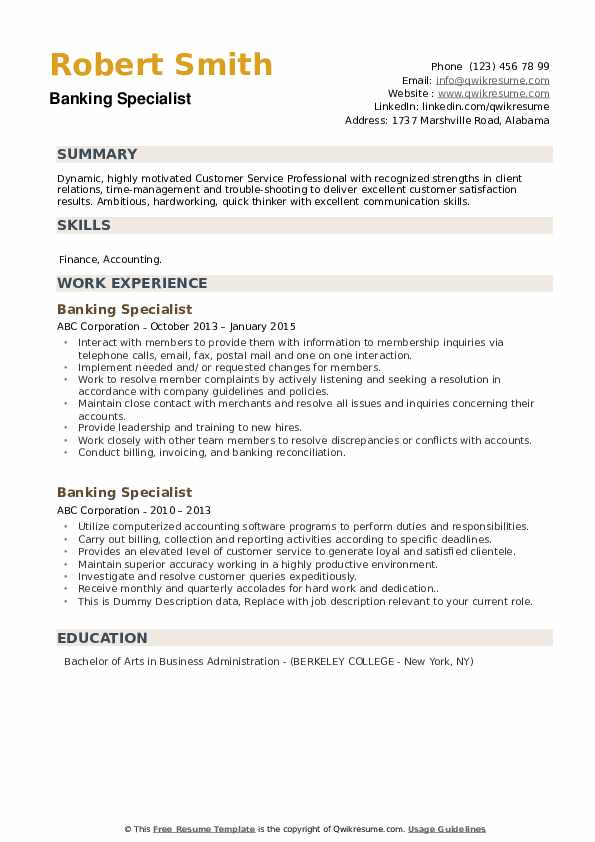 Banking Specialist Resume example