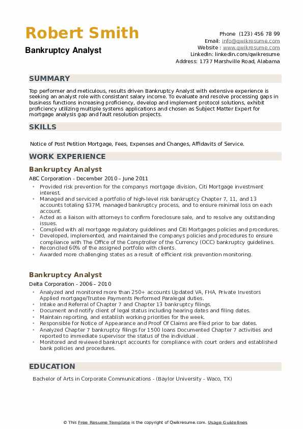 Bankruptcy Analyst Resume example
