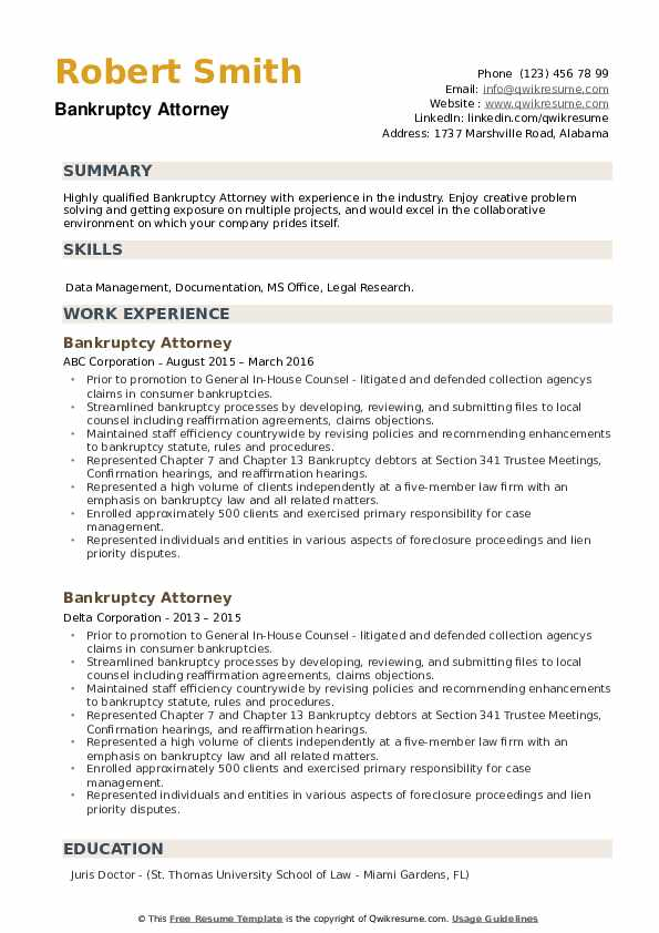 Bankruptcy Attorney Resume example
