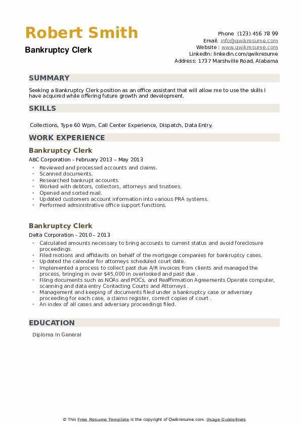 Bankruptcy Clerk Resume example