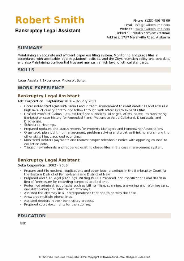 Bankruptcy Legal Assistant Resume example