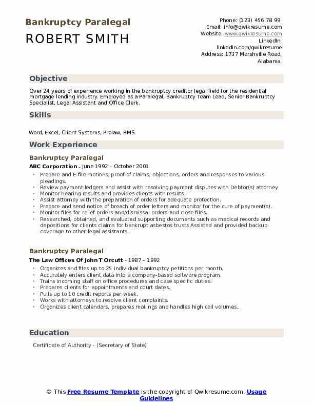 Bankruptcy Paralegal Resume Model