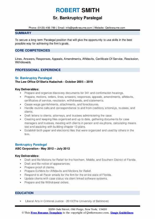 Sr. Bankruptcy Paralegal Resume Format