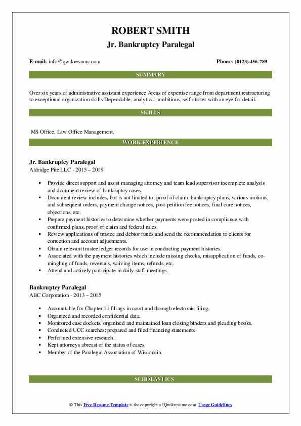 Jr. Bankruptcy Paralegal Resume Model